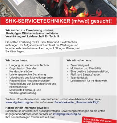 SHK-Servicetechniker (m/w/d) gesucht!